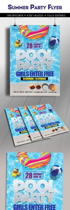 Pool Party Summer Flyer  Party Summer Flyer Template And Template