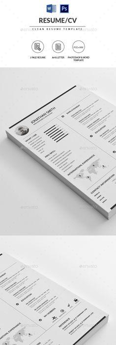 Clean Resume/CV Resume cv, Microsoft word and Template - simple resume format
