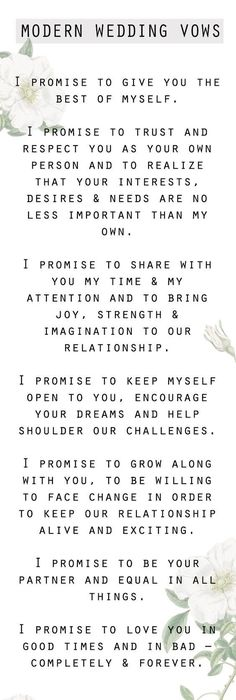 9 Romantic Wedding Vows   Personal wedding vows, Wedding vows and ...