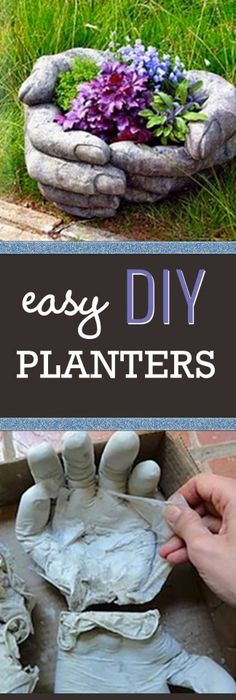 Cement hand planters pour casting concrete into rubber gloves these diy concrete hand planters are easier to make than you think solutioingenieria Images