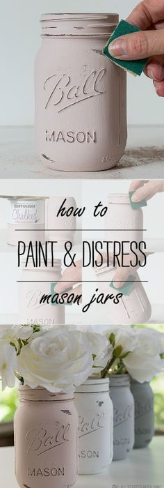 Easy inexpensive do it yourself ways to organize and decorate your mason jar crafts how to paint distress mason jars solutioingenieria Images