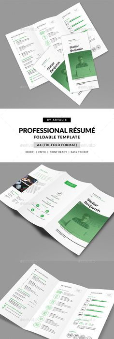Professional Resume / CV Template Print Ready Designs Pinterest - Tri Fold Resume