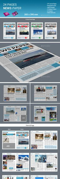 Newspaper Template   Pages  Newsletters Print Templates