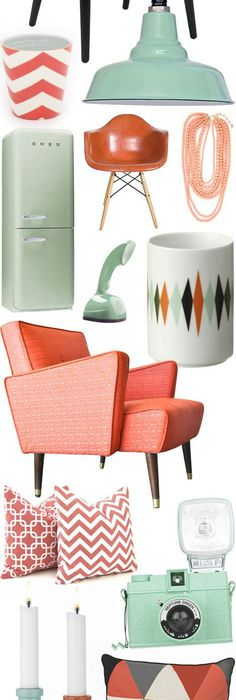 High Quality Coral Meets Mint In A Mid Century Match Made In Heaven! Amazing Design