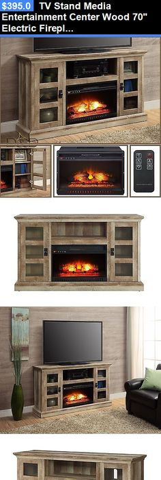 Entertainment Units TV Stands: Tv Stand Media Entertainment Center Wood 70  Electric Fireplace Heater +
