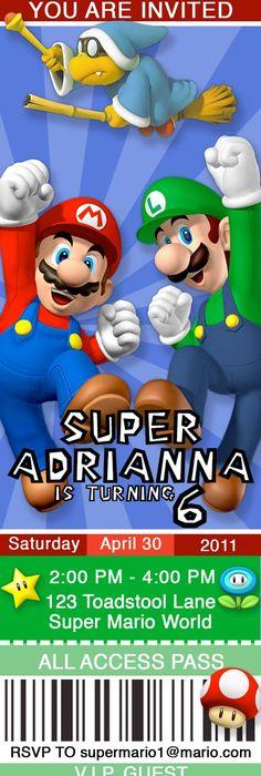 Mario and Luigi Super Mario Brothers Ticket Style Invitations 25x7