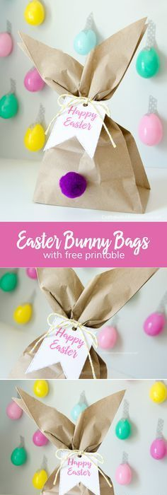 Diy easter treat bags craft for kids easter pouches and ads easter bunny gift bags with free printable tags negle Image collections