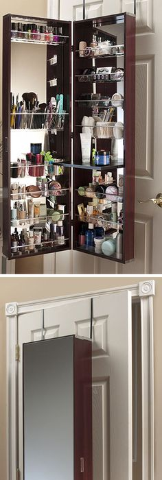 Over The Door Cosmetic Organizer Armoire W/ Mirror In Cherry // A