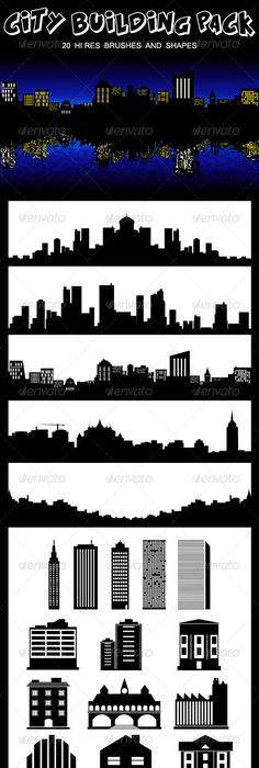 Industrial building set 1 25xeps brushes vectors pinterest city building pack by sarthony set of 20 fantastic shapes and brushes to photoshop ready to use gumiabroncs Choice Image