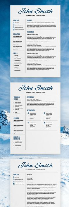 Elegant Resume Template  Creative Resume  Cv Template  Cover