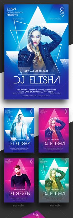 edm party flyer template clubs parties events graphics