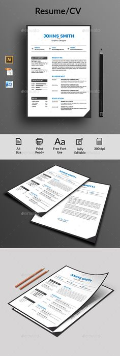 Minimal Cv Resume Template Indesign Indd Download Here Http