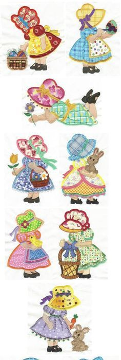 Cute Umbrella Critters Applique design set available for instant