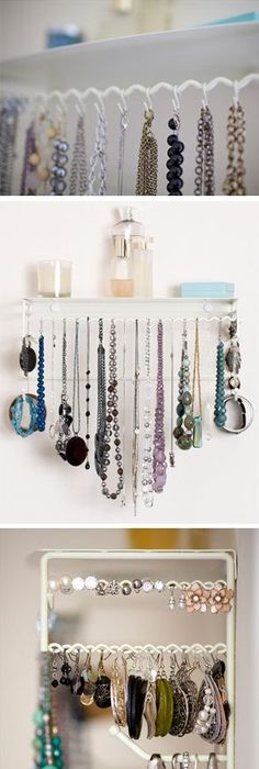 Burlap jewelry holder with crystal knobs Use upside down cup pulls
