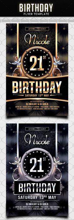 Birthday Flyer Ai illustrator, Flyer template and Birthdays