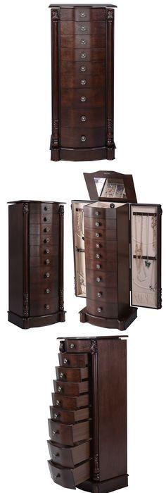Jewelry Boxes 3820 Jewelry Organizer Box Brown Natural Wood Glass