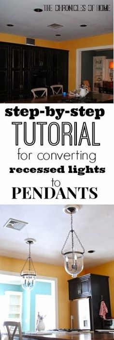 Goodbye recessed lights pendant conversion kit for an easy update tutorial how to convert recessed lights to pendants aloadofball Image collections