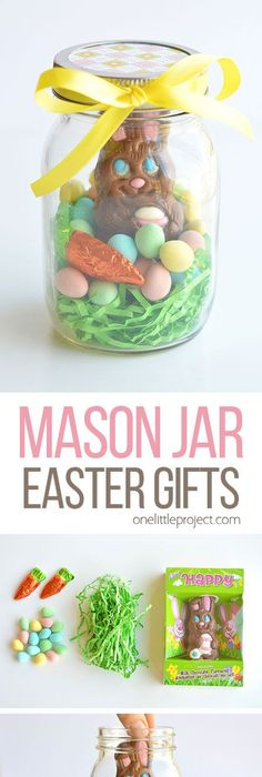 Mason jar chocolate easter bunny gift idea what a cute craft to mason jar easter gifts negle Gallery
