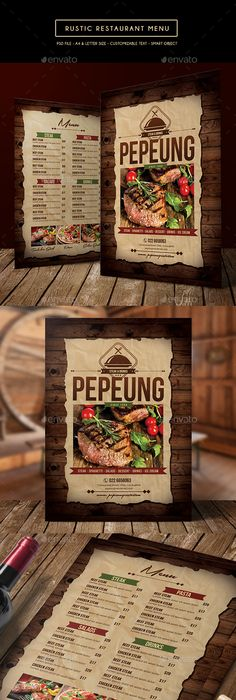 Rustic Restaurant Menu Template PSD Design Download Graphicriver