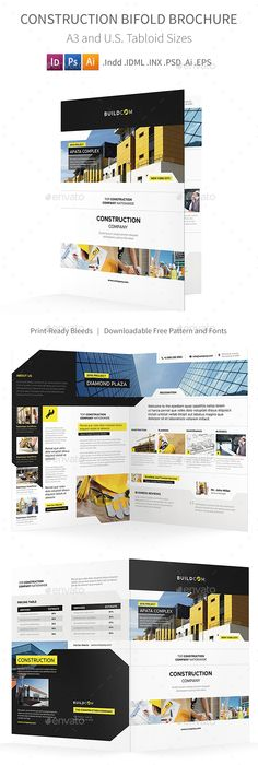 Construction Brochure Brochure template, Brochures and Construction - half fold brochure template