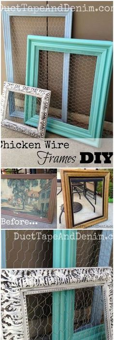Projects with picture frames tutorials craft and crafty chicken wire frames diy repurposed thrift store find solutioingenieria Image collections