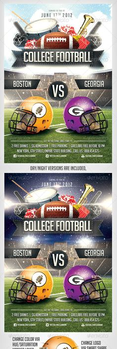 Big Game Football Flyer Template  Games Football Flyer Template