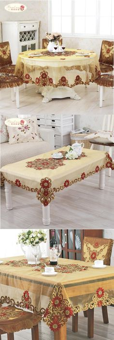 Proud rose european rural double sided embroidered tablecloth home decor round table cloth chair cover