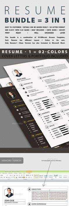 Resume/CV Bundle - 2 in 1 Resume cv, Cv template and Template - different resume templates