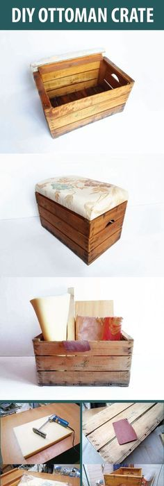 Check Out DIY Storage Ottoman | Turn A Vintage Wooden Crate Into A Storageu2026