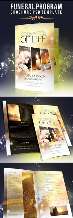 Glamour Funeral Program Large Template | Program template, Funeral ...