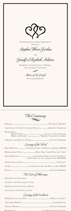 Catholic Full Mass Wedding Program  Catholic Wedding Wedding
