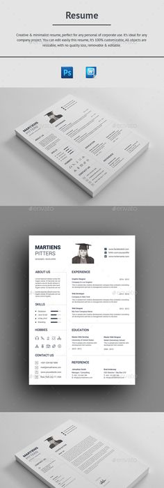 Resume Creative cv, Professional resume and Adobe photoshop