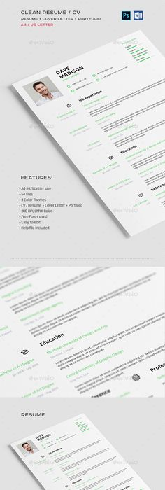 Smart Clean  Professional Resume Professional resume, Template