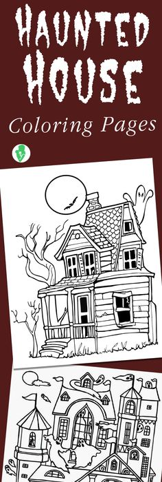 Halloween colouring page, Haunted house colouring page Projects to - copy coloring pages of school buildings