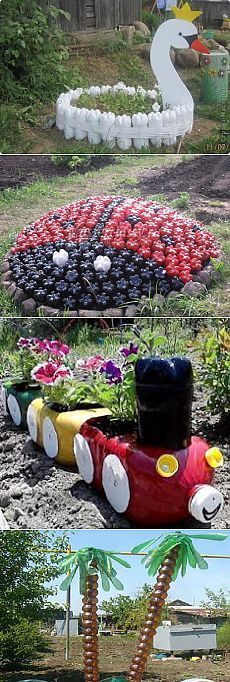 Wooden log train planter garden project yard decorations for Best out of waste ideas for kindergarten