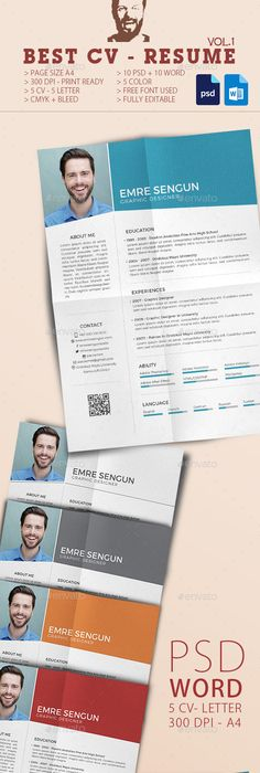 Retro Resume Template, Resume cv and Cv template