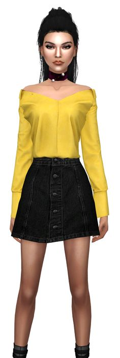 sims 4 kendall jenner cc outfit clothes marigold jean jacket dress slyd  shoes