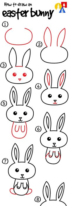 how to draw a easter bunny easy