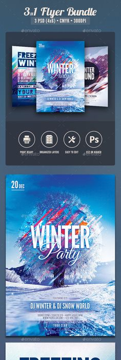 New Year Flyer Bundle Vol10 Flyer template, Party flyer and Template