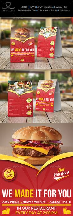 Restaurant And Cafe Table Tent Template Vol  Table Tents Cafe