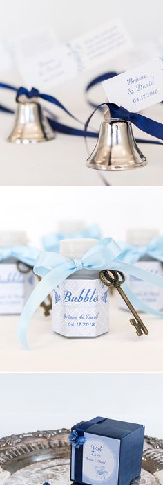 Here Are 3 Perfect Wedding Favor Ideas With A Vintage Blue Color Theme These Miniature Bells Bubbles And Navy Bo All Dressed Up