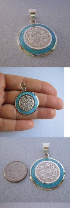 Necklaces and pendants 98491 mayan calendar pendant sterling necklaces and pendants 98491 mexican 950 silver mayan aztec calendar light blue green australian opal aloadofball Image collections