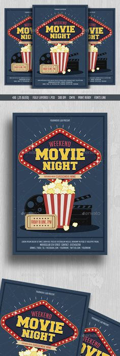 Outdoor Movie Night Flyer  Movie On The Green Poster  Template