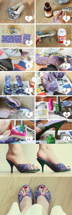 50 diy shoe makeovers 50th craft and blog how to refashion old shoes fashion shoes diy diy crafts do it yourself diy projects diy fashion refashion solutioingenieria Gallery