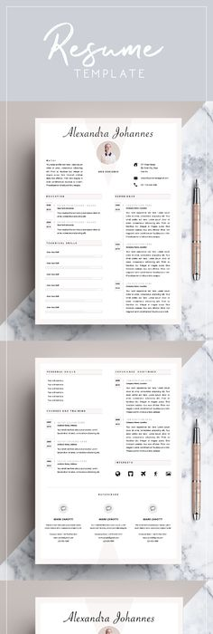 Resume Template 3 Page Pack MW @creativework247 Resume Design - m w resume