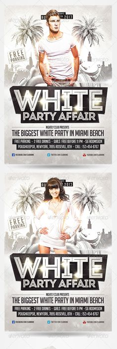 White Night Party Flyer Templates Flyer Template Party Flyer And