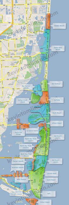 Self guided bike tour map of Miami Beach Google Search Miami