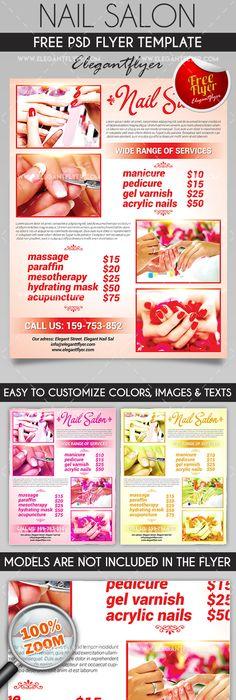 nail salon flyer psd template