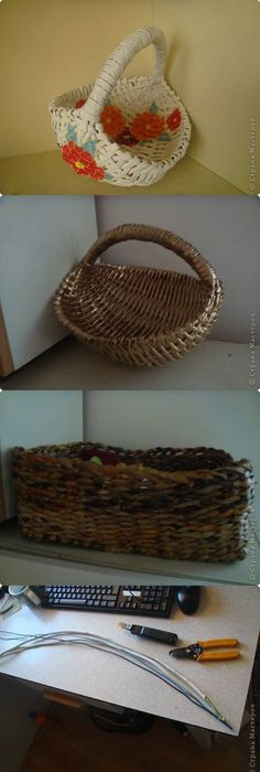 Rolled Magazine Or Newspaper Pages. :) Newspaper Pages Are Longer! Make 5  Small, 5 Medium, 5 Small Potato Baskets, 5 Medium