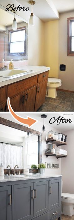 Easy Way to Paint your Bathroom Cabinets   Painted bathroom cabinets ...